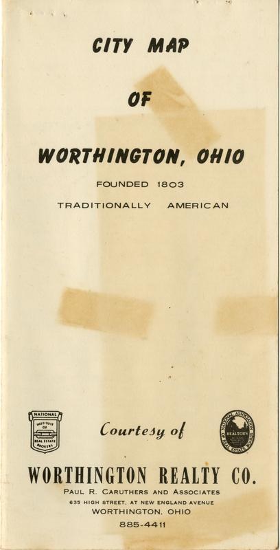 1962 City Map Of Worthington Ohio Worthington Memory